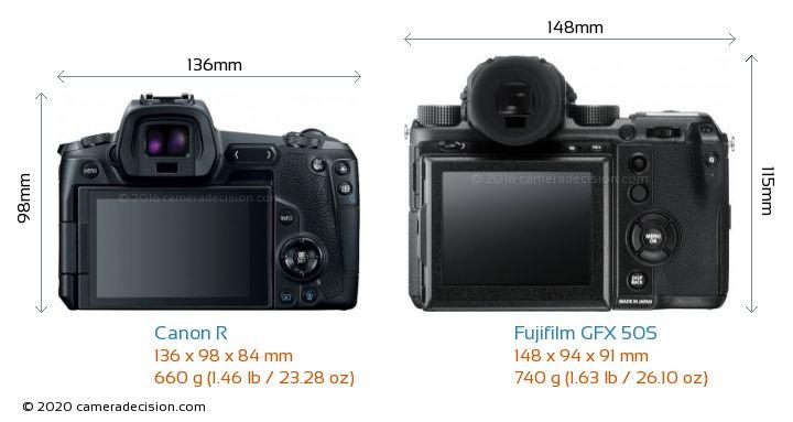 Canon R vs Fujifilm GFX 50S Camera Size Comparison - Back View