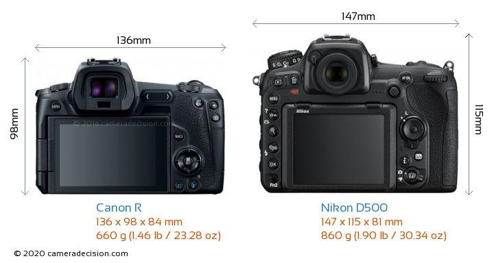 Canon R vs Nikon D500 Camera Size Comparison - Back View