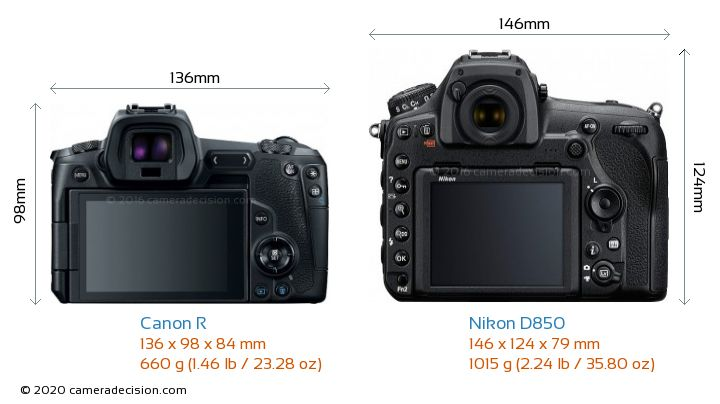 Canon R vs Nikon D850 Camera Size Comparison - Back View