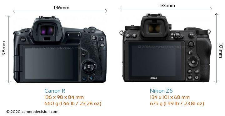 Canon R vs Nikon Z6 Camera Size Comparison - Back View