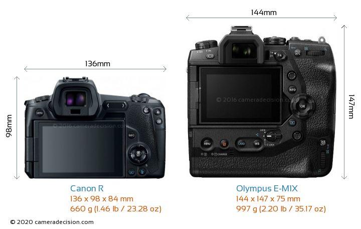 Canon R vs Olympus E-M1X Camera Size Comparison - Back View