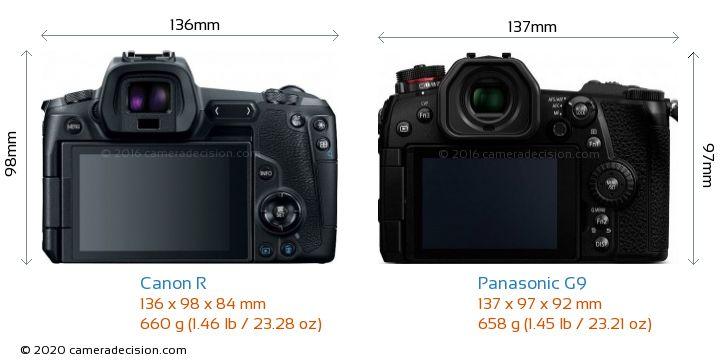 Canon R vs Panasonic G9 Camera Size Comparison - Back View
