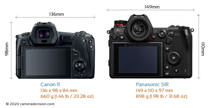 Canon R vs Panasonic S1R Camera Size Comparison - Back View