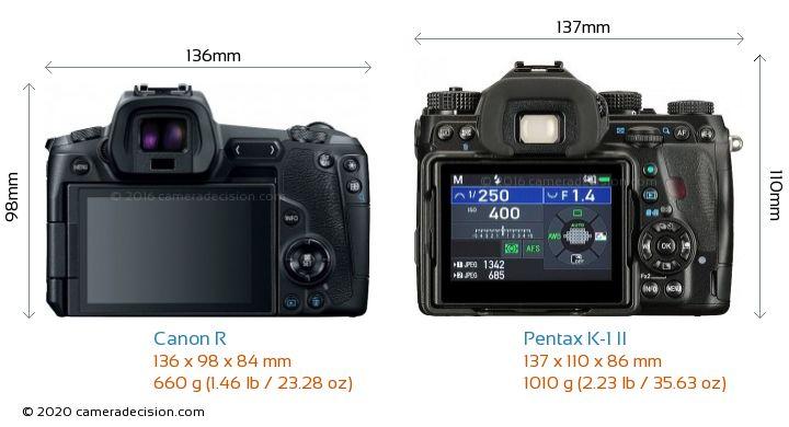 Canon R vs Pentax K-1 II Camera Size Comparison - Back View