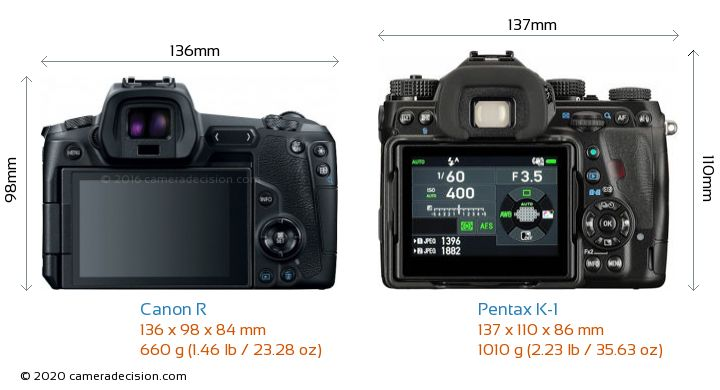 Canon R vs Pentax K-1 Camera Size Comparison - Back View