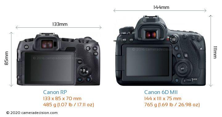 Canon RP vs Canon 6D MII Camera Size Comparison - Back View