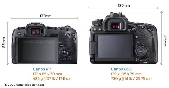Canon RP vs Canon 80D Camera Size Comparison - Back View