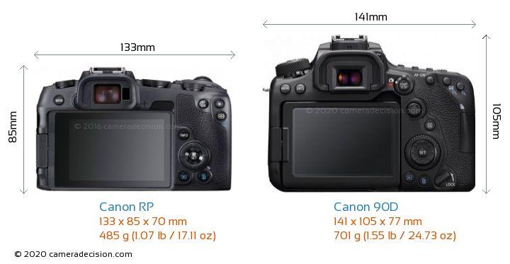 Canon RP vs Canon 90D Camera Size Comparison - Back View