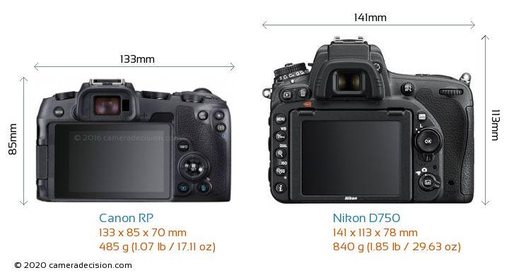 Canon RP vs Nikon D750 Camera Size Comparison - Back View