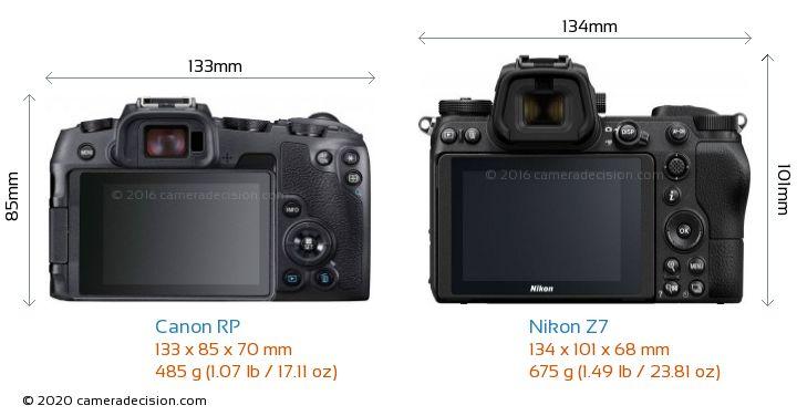 Canon RP vs Nikon Z7 Camera Size Comparison - Back View
