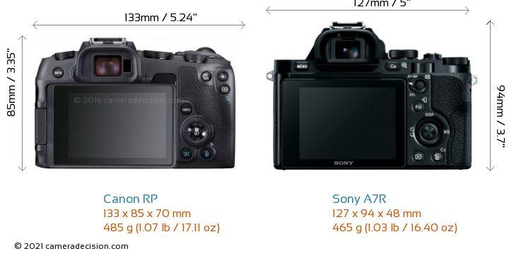 Canon RP vs Sony A7R Camera Size Comparison - Back View