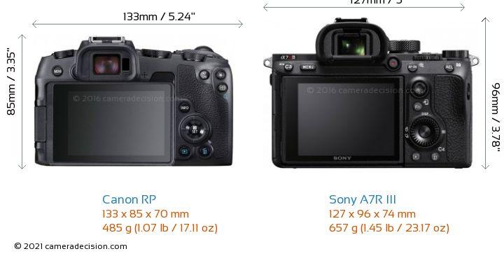 Canon RP vs Sony A7R III Camera Size Comparison - Back View