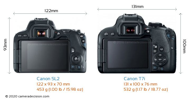 Canon SL2 vs Canon T7i Camera Size Comparison - Back View
