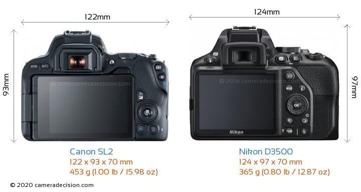 Canon SL2 vs Nikon D3500 Camera Size Comparison - Back View
