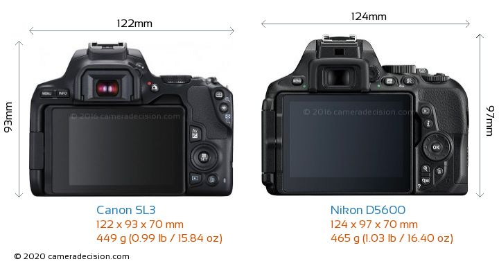 Canon SL3 vs Nikon D5600 Camera Size Comparison - Back View