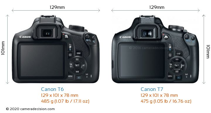 Canon T6 vs Canon T7 Camera Size Comparison - Back View