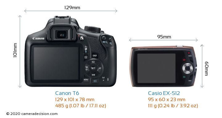 Canon T6 vs Casio EX-S12 Camera Size Comparison - Back View