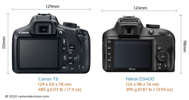 Canon T6 vs Nikon D3400 Camera Size Comparison - Back View