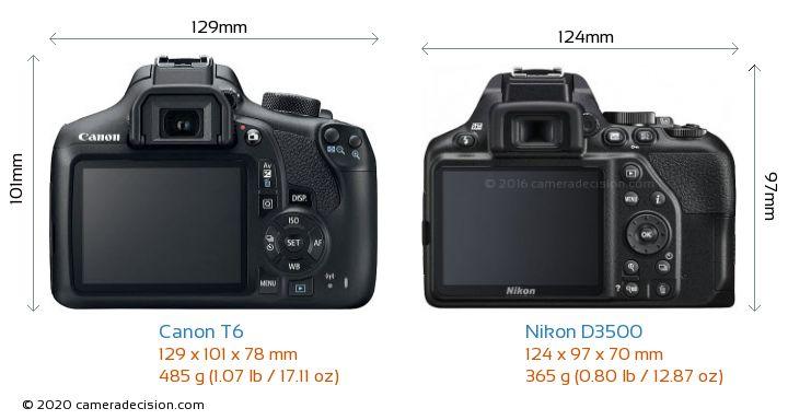 Canon T6 vs Nikon D3500 Camera Size Comparison - Back View