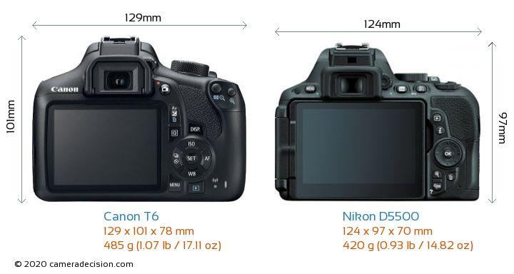 Canon T6 vs Nikon D5500 Camera Size Comparison - Back View
