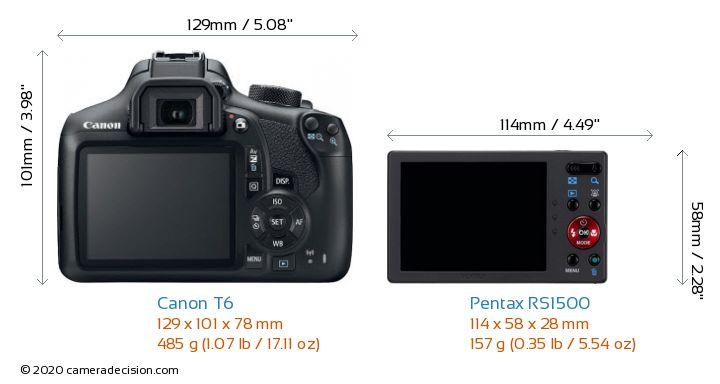 Canon T6 vs Pentax RS1500 Camera Size Comparison - Back View