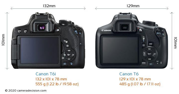 Canon T6i vs Canon T6 Camera Size Comparison - Back View