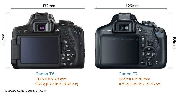 Canon T6i vs Canon T7 Camera Size Comparison - Back View