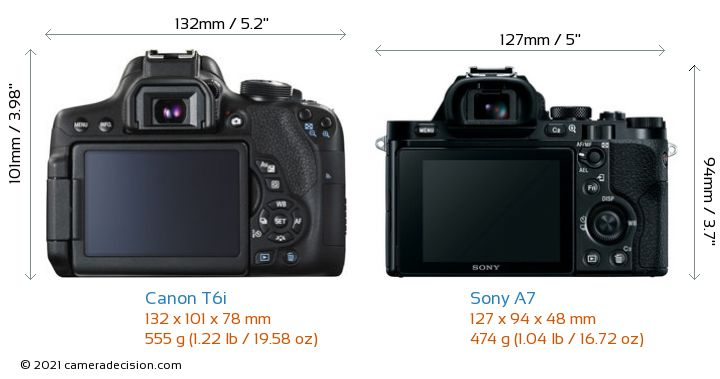 Canon T6i vs Sony A7 Camera Size Comparison - Back View