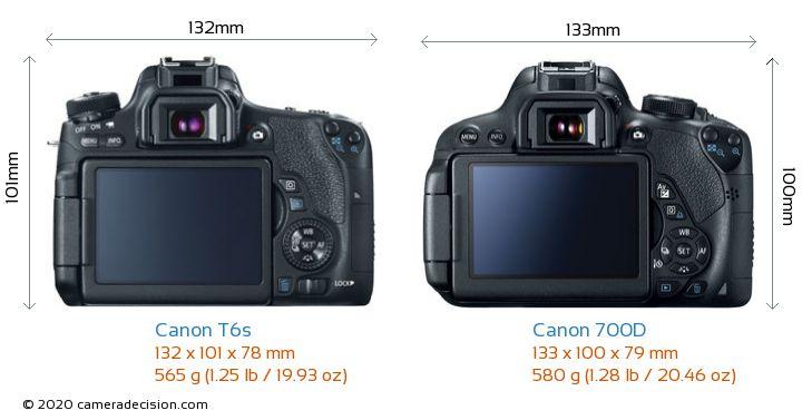 Canon T6s vs Canon 700D Camera Size Comparison - Back View