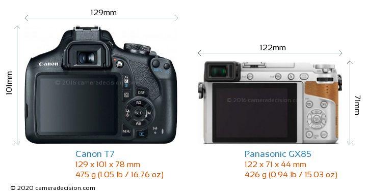 Canon T7 vs Panasonic GX85 Camera Size Comparison - Back View