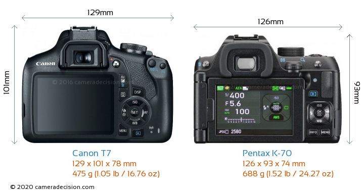 Canon T7 vs Pentax K-70 Camera Size Comparison - Back View