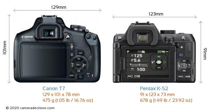 Canon T7 vs Pentax K-S2 Camera Size Comparison - Back View
