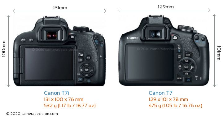 Canon T7i vs Canon T7 Camera Size Comparison - Back View