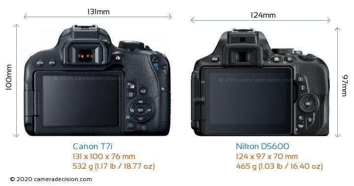 Canon T7i vs Nikon D5600 Camera Size Comparison - Back View