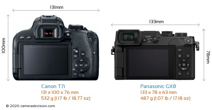 Canon T7i vs Panasonic GX8 Camera Size Comparison - Back View