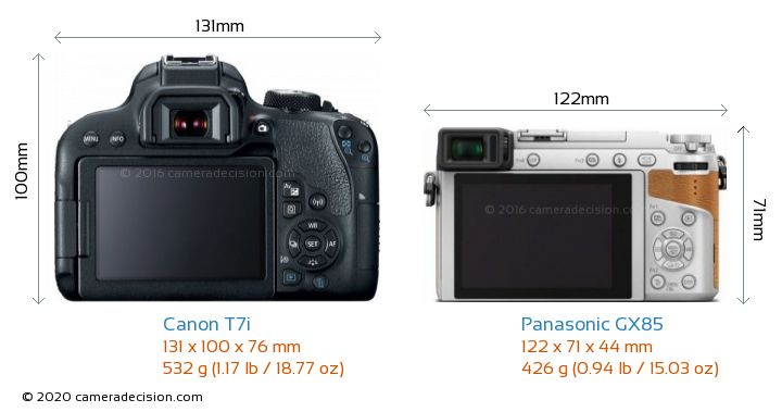 Canon T7i vs Panasonic GX85 Camera Size Comparison - Back View