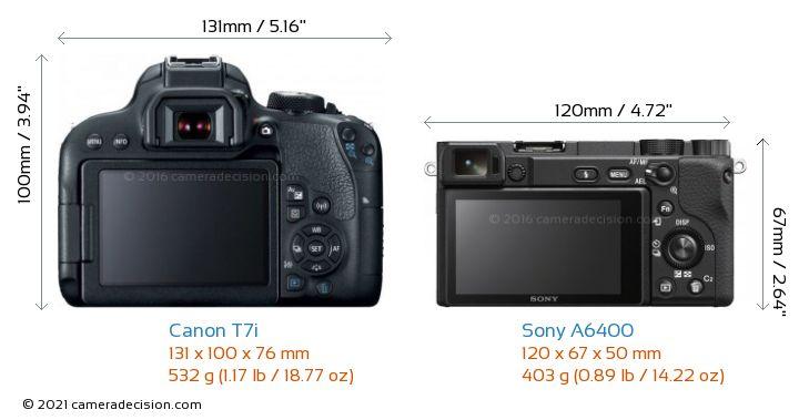 Canon T7i vs Sony A6400 Camera Size Comparison - Back View
