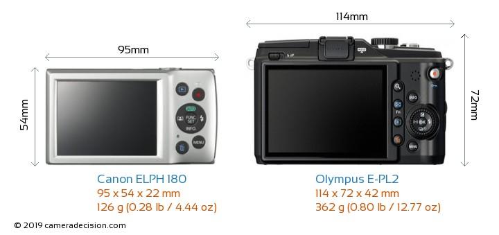Canon ELPH 180 vs Olympus E-PL2 Camera Size Comparison - Back View