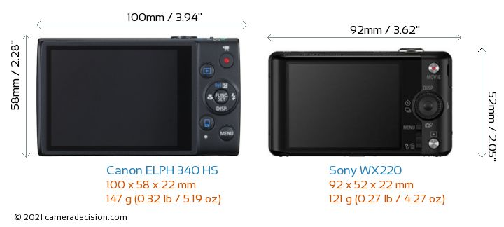 Canon ELPH 340 HS vs Sony WX220 Camera Size Comparison - Back View