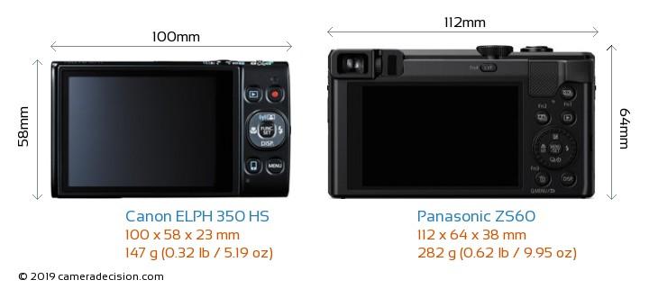 Canon ELPH 350 HS vs Panasonic ZS60 Camera Size Comparison - Back View