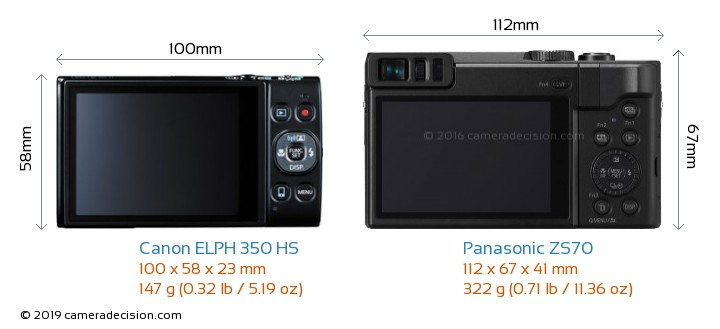 Canon ELPH 350 HS vs Panasonic ZS70 Camera Size Comparison - Back View