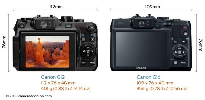 Canon G12 vs Canon G16 Camera Size Comparison - Back View