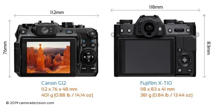 Canon G12 vs Fujifilm X-T10 Camera Size Comparison - Back View