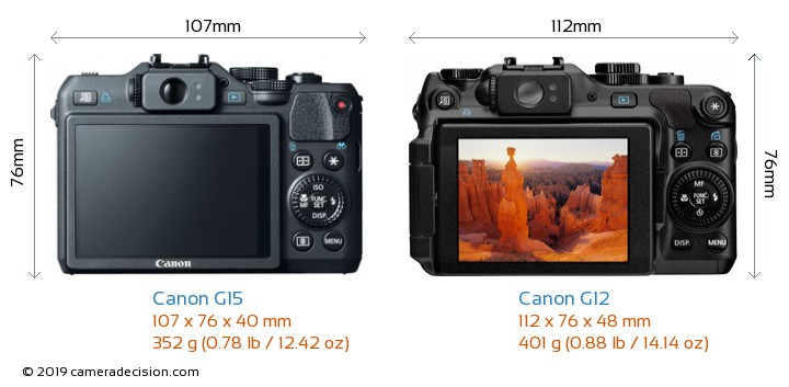Canon G15 vs Canon G12 Camera Size Comparison - Back View