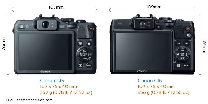 Canon G15 vs Canon G16 Camera Size Comparison - Back View