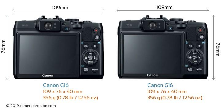 Canon G16 vs Canon G16 Camera Size Comparison - Back View