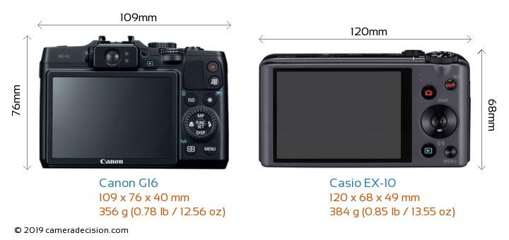 Canon G16 vs Casio EX-10 Camera Size Comparison - Back View