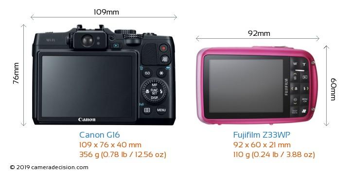 Canon G16 vs Fujifilm Z33WP Camera Size Comparison - Back View