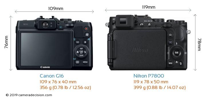 Canon G16 vs Nikon P7800 Camera Size Comparison - Back View