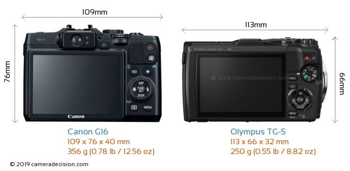 Canon G16 vs Olympus TG-5 Camera Size Comparison - Back View